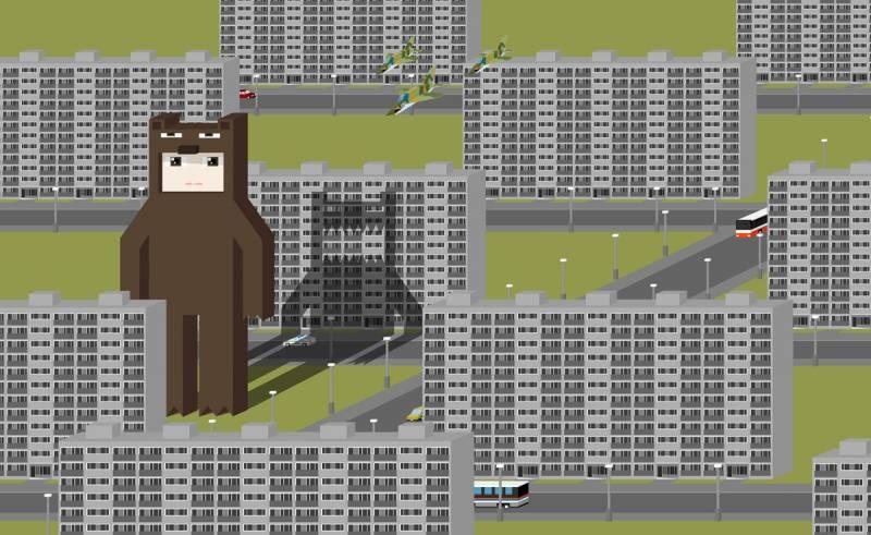 Medvědí chlapeček mezi sídlištěm
